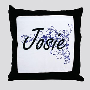 Josie Artistic Name Design with Flowe Throw Pillow